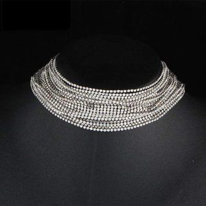 Rhinestone Choker Crystal Necklace Multi for women